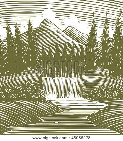 Woodcut Waterfall Wilderness