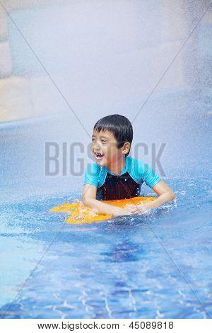 Happy Boy Learn To Swim