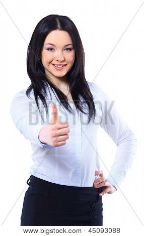 Business woman thumb up gesture. Smile business woman