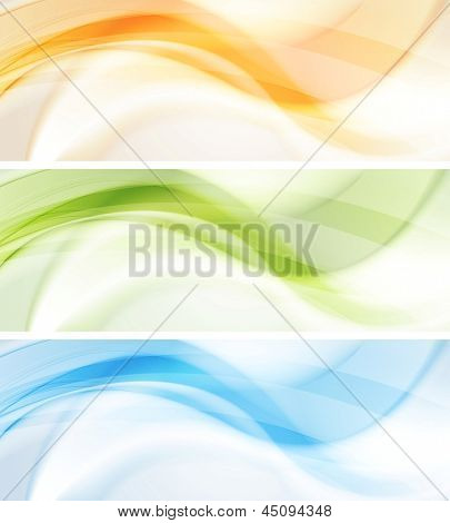 Abstract smooth wavy banners. Vector background eps 10