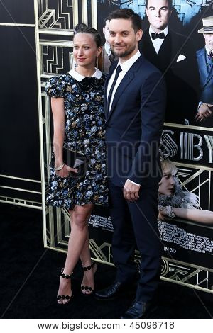 "NEW YORK-NOV 18: Jennifer Meyer Maguire and actor Tobey Maguire attend the premiere of ""The Great Gatsby"" at Avery Fisher Hall at Lincoln Center on May 1, 2013 in New York City."