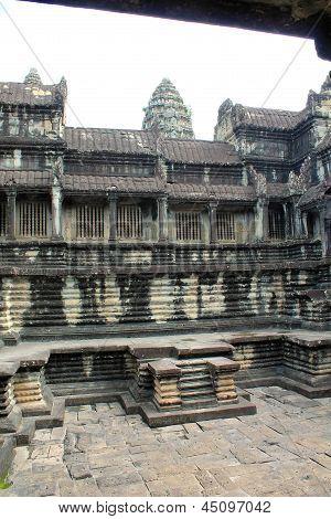 Inner Stone Courtyard At Angkor Wat, Cambodia