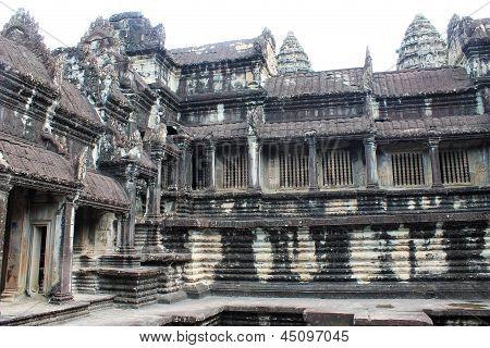 Stone Temple Ruins At Angkor Wat, Cambodia