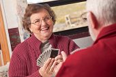 pic of elderly couple  - Happy Senior Adult Couple Playing Cards in Their RV - JPG