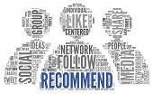 image of recommendation  - Social media and recommend concept in word tag cloud on white background - JPG