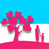 stock photo of mummy  - Happy Mothers Day background with pink silhouette a mother holding her child hand standing in front of love tree with heart leaves - JPG