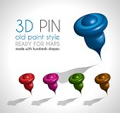 3d Style pin made wit a lot of shapes and in 5 different colors. Ready to use on gps map or just lik