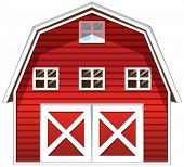picture of red barn  - Illustration of a red barn house on a white background - JPG
