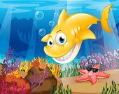 Illustration of a yellow shark under the sea with starfish and corals