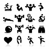 stock photo of squat  - Exercising Icons - JPG