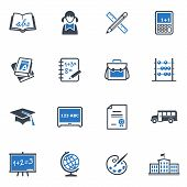 stock photo of schoolgirl  - Set of 16 school and education icons great for presentations - JPG
