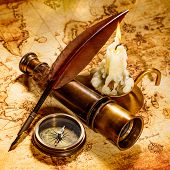 stock photo of nautical equipment  - Vintage compass - JPG