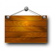 Vector wooden board hanging.