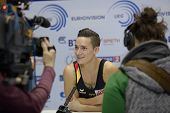 MOSCOW, RUSSIA - APRIL 21: Marcel Nguyen, Germany talk with press in final of 5th European Champions