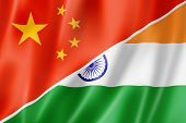 China und Indien Flagge