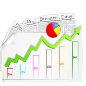 Business Graph with Business Newspaper