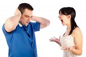 stock photo of hysterics  - Boyfriend got fed up with his extremely hysterical girlfriend - JPG