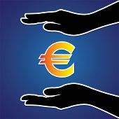 stock photo of safeguard  - Vector illustration of protecting or safeguarding euro money - JPG
