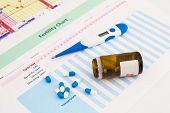 picture of rectal  - Electronic thermometer and pills on fertility chart - JPG
