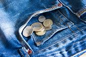 Uk Coins Falling Out Of Jeans Pocket