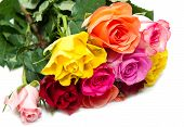 pic of yellow buds  - bouquet of colorful roses on white background - JPG