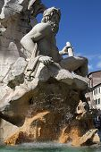 Fontana Dei Quattro Fiumi Or Fountain Of The Four Rivers  By Gian Lorenzo Bernini, Topped By The Obe