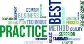 image of benchmarking  - A word cloud of best practice related items - JPG
