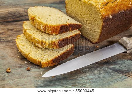 slices of freshly baked, gluten free, coconut flour bread