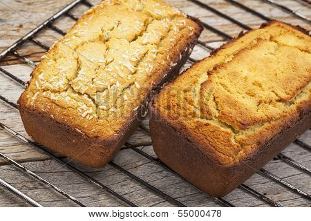 freshly baked two mini loafs of gluten free coconut flour bread cooling down on a wire rack