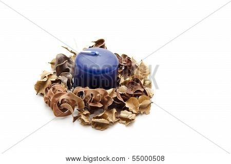 Brown Foliage  with Blue Candle