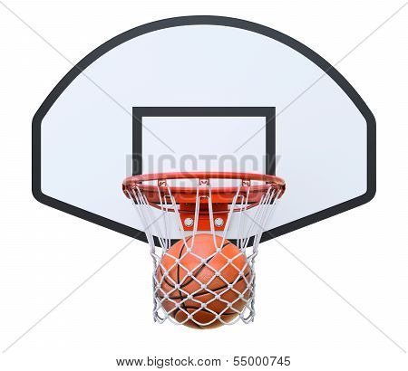 Basket ball in the hoop