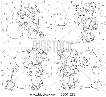 Child makes a snowman