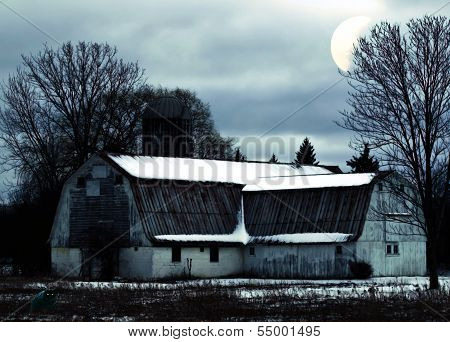 Barn At Night Scene
