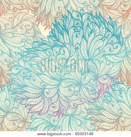 Seamless Floral Vintage  Blue Cloudy Pattern