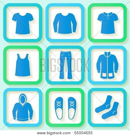 Set Of 9 Bright Icons Of Men Clothong. Eps10