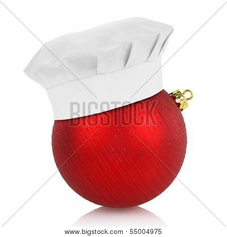 Chef hat on elegant Christmas ball isolated on white background