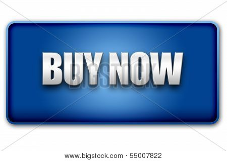 Buy Now 3D Blue Button On White Background