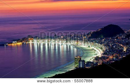 Night view of Copacabana beach  Rio de Janeiro