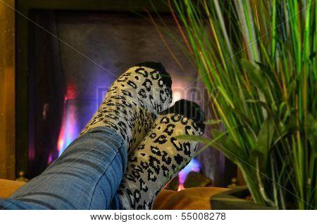 Warm feet in front of roaring fire