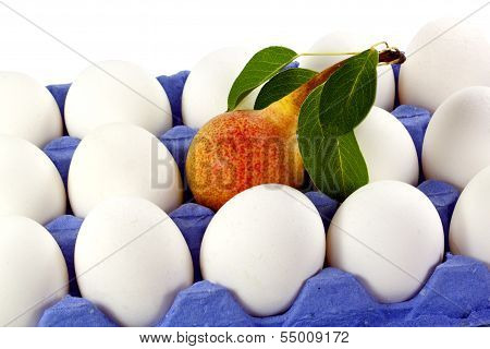 Blue Tray Of White Eggs With Pear