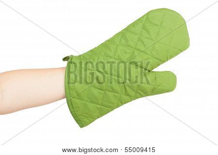 Green Heat Protective Mitten On A Female Hand