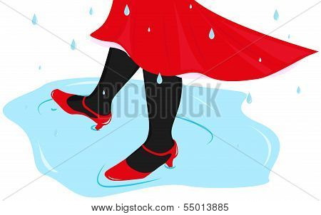 Woman Dancing In A Puddle