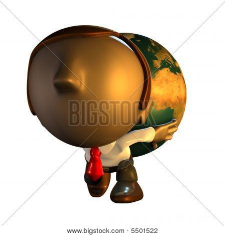 3D Business Man Charakter tragen Welt