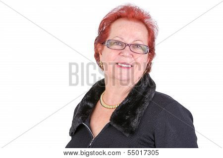 Senior Adult Woman With Red Hair Smiling At You