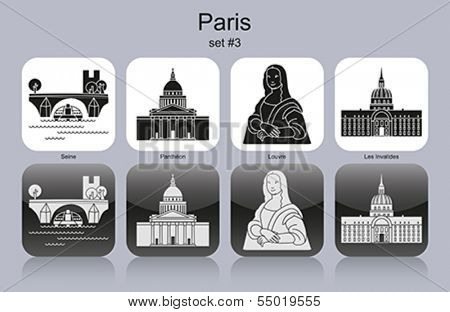 Landmarks of Paris. Set of monochrome icons. Editable vector illustration.