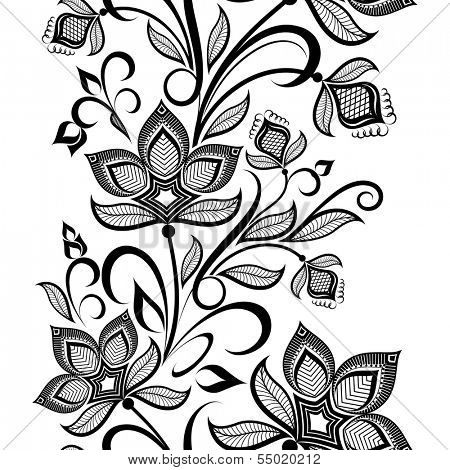 Seamless black and white floral vintage vertical vector pattern.