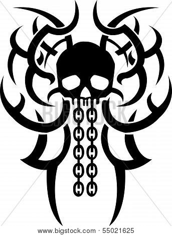 Vector illustration skull and chain bones