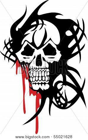 bloody skull on white background.