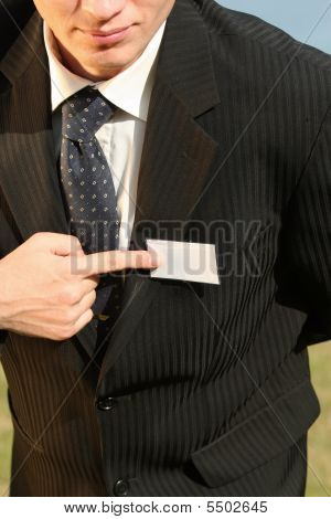 Businessman Pointing On Empty Card