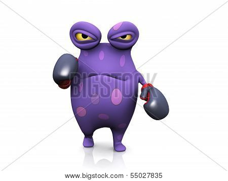A Spotted Monster Wearing Boxing Gloves.